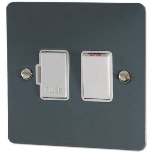 G&H FDG57W Flat Plate Dark Grey 1 Gang Fused Spur 13A Switched